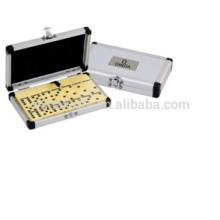 Juego de dominó de caja de aluminio, juego de dominó