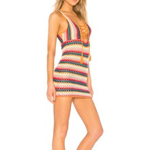 Lace-Up Neckline Rainbow Striped Wrap Mini Dress