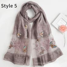 Chaqueta bordada de la mariposa del mantón del hijab del nuevo del modelo de la mezcla de acrílico de seda de la moda