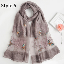 Fashion silk acrylic blend new pattern women hijab shawl butterfly embroidered scarf