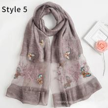 Moda mistura acrílica de seda novo padrão mulheres hijab xale borboleta bordado lenço