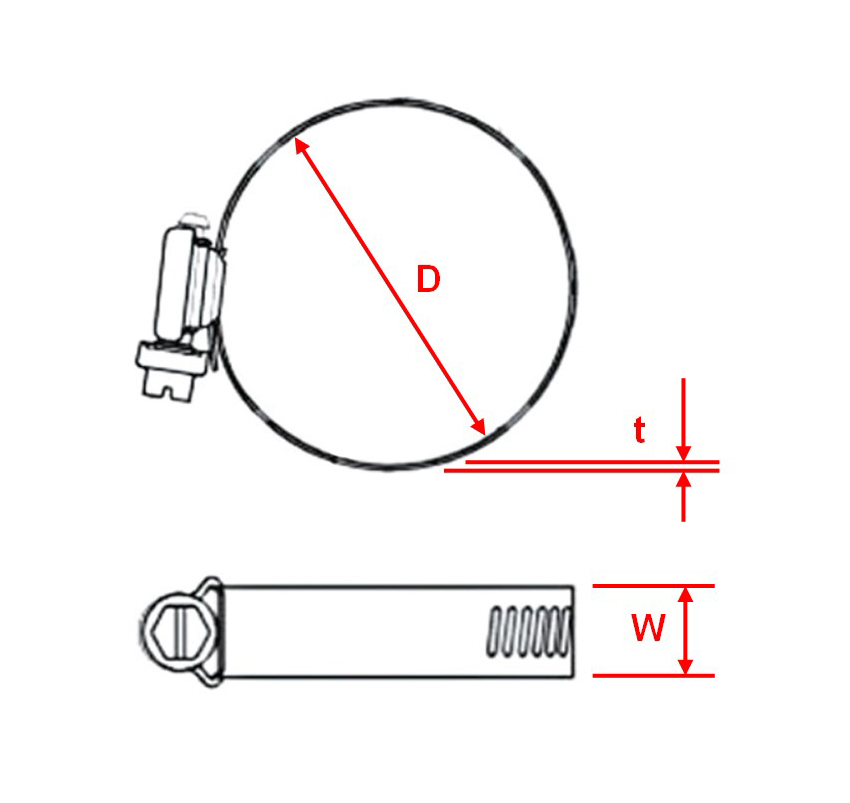 Hose Clamp Worm Gear Drawing