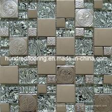 Azulejo de mosaico del metal del acero inoxidable de la mezcla de cristal (SM208)