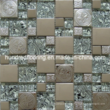 Glass Mix Stainless Steel Metal Mosaic Tile (SM208)