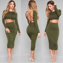 Women Amy Green Backless 2 Pieces Bodycon Bandage Dress