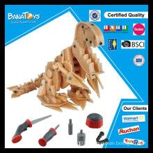 Nouvelle intelligence 3D joue un jouet de dinosaure en bois DIY