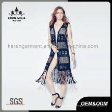 Cárdigan de traje de baño con flecos negros de Lady's Fashion