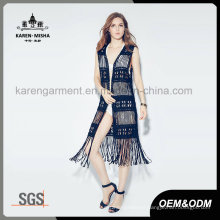 Lady′s Fashion Black Fringe Swimwear Cardigan