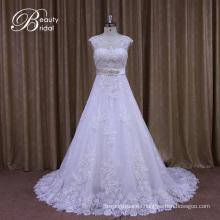 Appliqued Lace A-Line Vestidos de novia con rebordear el marco