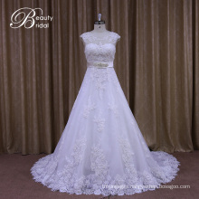 Appliqued Lace A-Line Bridal Gowns with Beading Sash
