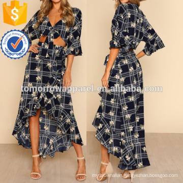 Flounce Sleeve Crop Top & Ruffle Hem Skirt Set Manufacture Wholesale Fashion Women Apparel (TA4116SS)