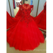 LS38754 Red cap sleeve model lace evening dress retail with backless and beaded neck design