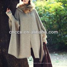 13STC5536 Mesdames capuche chandail cardigan laine ponchos capes