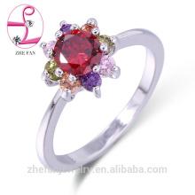 Fábrica de piedras preciosas hechas a mano al por mayor de plata de ley 925 anillos con forma de flor cz