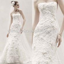Robe de trompette équipée avec toute la robe de mariage en fleurs