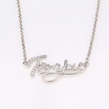 Xuping longue chaîne coeur rhodium-façonné CZ bijoux collier avec des mots 'pour vous' 41919