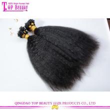 Top qualidade extensão do cabelo crespo em linha reta 100% não transformados humano virgem brasileira micro anel de loop extensões de cabelo