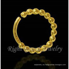 Nariz del indio plateado oro joyas anillos en la nariz aro de Piercing