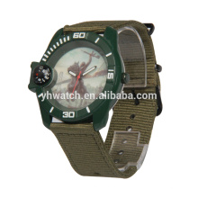 Fashion style compass quartz weaving strap sport watch maker