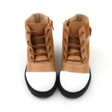 Brązowe i białe wysokie buty dla dzieci