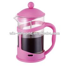 Prensa plástica plástica rosada coloreada 350ML del rosa del émbolo