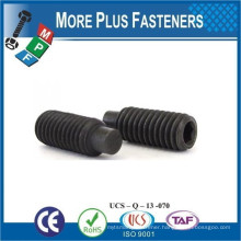 Made in Taiwan Carbon Alloy Steel DIN 915 or ISO 4028 Socket Set Screw with Dog Point Black Zinc Plated