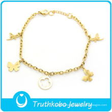 TKB-B0019 2015 wholesale jewelry custom hand chain bracelet dragonfly and butterfly gold 316L stainless steel bracelet