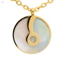 316l acier inoxydable à longue chaîne conception jaune or disque cercle pendentifs en gros