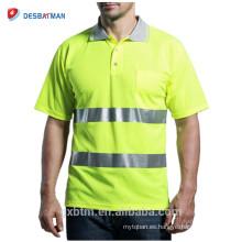 Custom Class 2 Work Wear Clothing Mesh Hi-Vis Camiseta de seguridad Yellow Short Sleeve Reflective High Visibility Polo
