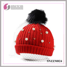 2016 Warm Fashion Pearl Rhinestone Ladies Mesh Wool Hats