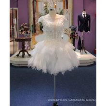 Новое Прибытие 2017 короткое свадебное платье с иллюзия декольте