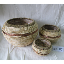 Drum-like Multi-colored Maize Rope Basket