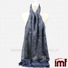 Lã Azul Paisley Dot Imprimir Tassel Scarf Xaile