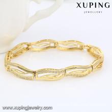 74468 Fashion élégant 14k plaqué or CZ Diamond Imitation bijoux Bracelet pour les femmes