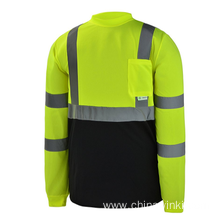 "High Visibility Black Bottom Long Sleeve Safety Shirt With 2"" Reflective tapes"