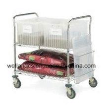 Chariot de service en métal chromé ajustable NSF pour hôpital (TR904590A2CW)