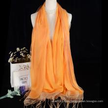 Quasten Doppelschicht Schal Seidenschal mit Wolle Design für die Dame