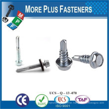 "Taiwan #12-14 x 1"" Hex Unslotted Hex Washer Head Epoxy #3 410 Stainless Steel Bonded Sealing Washer Self-Drilling Screw"