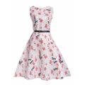 Latest One Piece Sleeveless Summer Flower Printed Girl Causal Dress