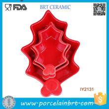 3PCS Atacado Red Ceramic Cookie Mold Conjunto Panelas