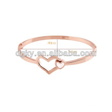 Women Rose Gold Stainless steel Heart Bangle Bracelets