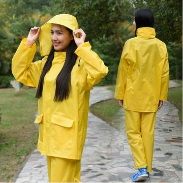 Yj-6086 Yellow Blue Polyester Unisex Rain Suit Rains Clothing Ladies Raincoats