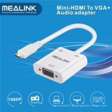 Adaptador de cabo de áudio Mini HDMI para VGA + 3,5 mm