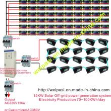 Sistema solar de la generación de energía de la Off-rejilla 15KW; Producción de electricidad 70 ~ 100KWh / día