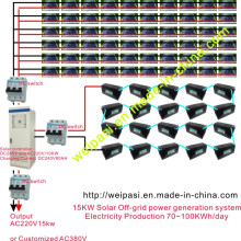 Système de production d'énergie hors-réseau solaire de 15 kW; Production d'électricité 70 ~ 100KWh / jour