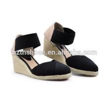 Proteção ambiental wedges sandálias lazer confortável europeus e americanos vento joker cânhamo feminino sapatos grandes jardas