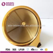Producto nuevo 2016 Amazon Venta caliente Único 18/8 # El oro sin papel vierte sobre el goteador del cono, filtro reutilizable del café del acero inoxidable