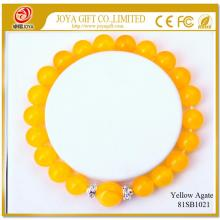 Yellow Agate 8MM Round Beads Gemstone Bracelet