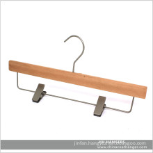 Natural Wooden Trousers Hangers with Metal Clips