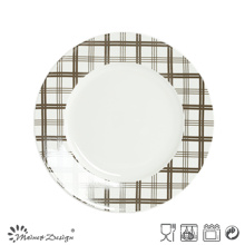 White Porcelain with Decal Checked Salad Plate